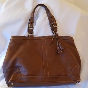 Large Coach Brown Leather Shoulder Bag